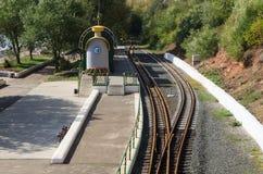 Perron Children`s Railway on the promenade in the city of Orenburg. Russia Royalty Free Stock Image