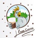 Perroquet avec la boisson de cacao Image libre de droits