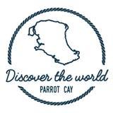 Perroquet Cay Map Outline Le vintage découvrent Photo libre de droits