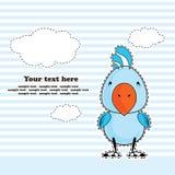 Perroquet de cacatoès bleu, carte de voeux, vecteur Images libres de droits