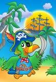 Perroquet de pirate avec le bateau Images stock