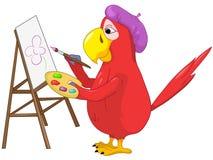 Perroquet drôle. Artiste. illustration libre de droits