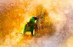 Perroquet et ornements verts et fond doucement brouillé d'aquarelle Images libres de droits