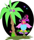 Perroquet et paume dans les tropiques illustration de vecteur