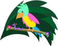 Perroquet et ver de terre partageant un branchement illustration stock