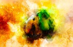 Perroquets et ornements verts et blancs et fond doucement brouillé d'aquarelle Image libre de droits