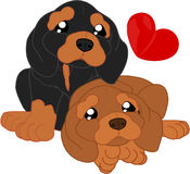 Perros basset lindos de la historieta libre illustration