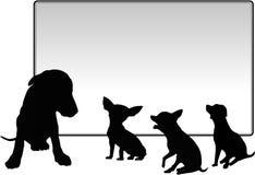 Perros con la tarjeta de mensaje, imagen de la ilustración Imagen de archivo libre de regalías
