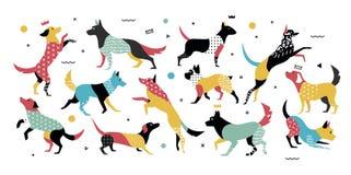Perros con los elementos geométricos en estilo de los años 90s Imágenes de archivo libres de regalías
