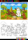 Perros de la historieta para el libro o la paginación de colorante stock de ilustración