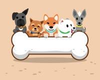 Perros de la historieta y hueso grande ilustración del vector