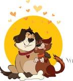 Perros de la tarjeta del día de San Valentín Imagenes de archivo