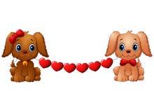 Perros de la tarjeta del día de San Valentín de los pares con el corazón rojo ilustración del vector