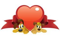 Perros de la tarjeta del día de San Valentín Imagen de archivo libre de regalías