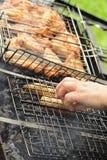 Perros de Ot y alas de pollo asadas a la parilla Fotografía de archivo libre de regalías