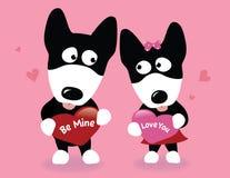 Perros del lobo de la tarjeta del día de San Valentín Fotografía de archivo libre de regalías
