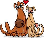 Perros en el ejemplo de la historieta del amor Fotos de archivo libres de regalías