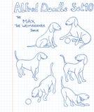 Perros en estilo del doodle Imagen de archivo libre de regalías
