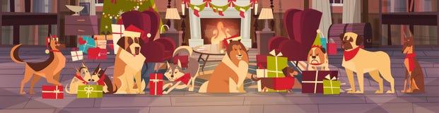 Perros en Santa Hats In Living Room con el árbol de pino adornado, la Feliz Navidad y el diseño del cartel del día de fiesta de l stock de ilustración