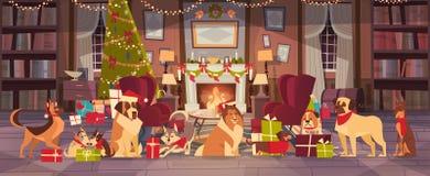 Perros en Santa Hats In Living Room con el árbol de pino adornado, la Feliz Navidad y el diseño del cartel del día de fiesta de l ilustración del vector