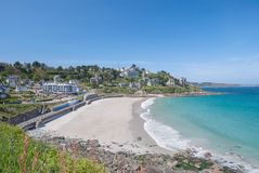 Perros-Guirec,Brittany,Bretagne,France. Beach and Village of Perros-Guirec at pink granite coast(cote de granite rose) near Ploumanach in brittany,france Stock Photography