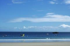 Perros-Guirec (Brittany, Frankrike): strand Fotografering för Bildbyråer