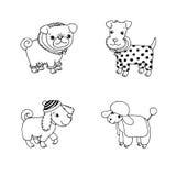 Perros lindos de la historieta en ropa del invierno stock de ilustración