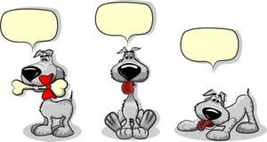 Perros lindos de la historieta y un vector de discurso de la burbuja Foto de archivo libre de regalías