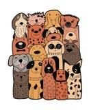 Perros lindos, estilo del garabato Animales divertidos Fotos de archivo