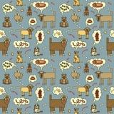 Perros que piensan Pattern_Blue Imagen de archivo libre de regalías