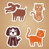 Perros y gatos divertidos del vector Fotografía de archivo libre de regalías