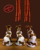 Perros y perritos calientes. Imagenes de archivo
