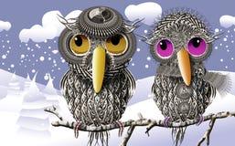 Perruches maintenant la chaleur dans l'hiver Images libres de droits