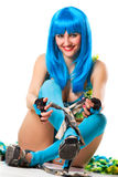 perruque bleue de robe Photos libres de droits