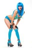 perruque bleue de robe Photo libre de droits