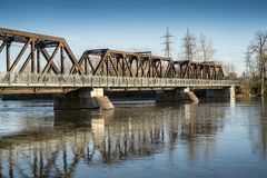 Perry Island Railway Bridge dans Laval photo stock