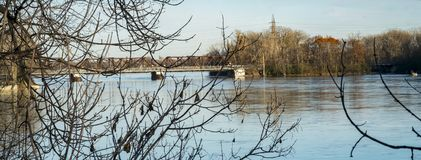 Perry Island Railway Bridge i Laval Arkivfoton