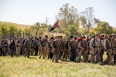 Perryville Confederate army. Perryville, Kentucky - October 8, 2016: Actors prepare for a Civil War battle reenactment in Perryville Kentucky, on October 8, 2016 Royalty Free Stock Photo