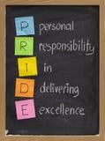 Persönliche Verantwortung, wenn hervorragende Leistung geliefert wird stockbild
