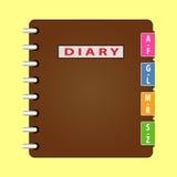 Persönlicher Organisator Tagebuch mit brauner Abdeckung Vektor Lizenzfreie Stockbilder