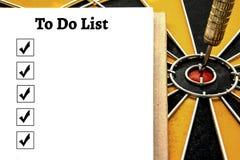 Persönliches Notizbuch mit a, zum der Liste und des Auswahlkästchens zu tun Stockfoto