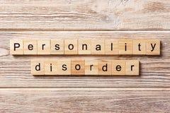 Persönlichkeitsstörungswort geschrieben auf hölzernen Block Persönlichkeitsstörungstext auf Tabelle, Konzept Lizenzfreie Stockfotografie