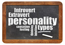 Persönlichkeitstypen auf Tafel Stockbild