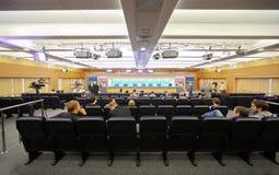 Persconferentie van de Reeks van de Wereld van het In dozen doen Stock Foto's