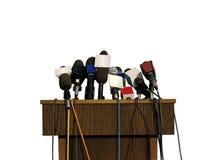 Persconferentiemicrofoons Stock Foto's