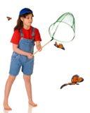 Persecución de mariposas Imagen de archivo libre de regalías