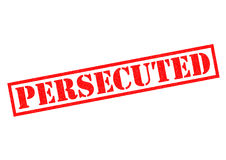 PERSECUTED. Red Rubber Stamp over a white background Stock Photos