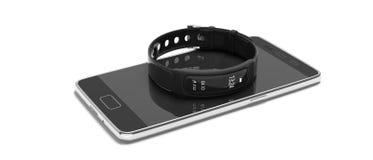 Perseguidor da aptidão, relógio esperto e telefone celular isolados no fundo branco ilustração 3D imagem de stock royalty free
