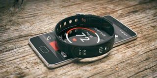 Perseguidor da aptidão, relógio esperto e telefone celular isolados no fundo de madeira ilustração 3D fotos de stock