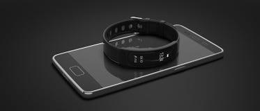 Perseguidor da aptidão, relógio esperto e telefone celular isolados no fundo preto ilustração 3D fotografia de stock royalty free